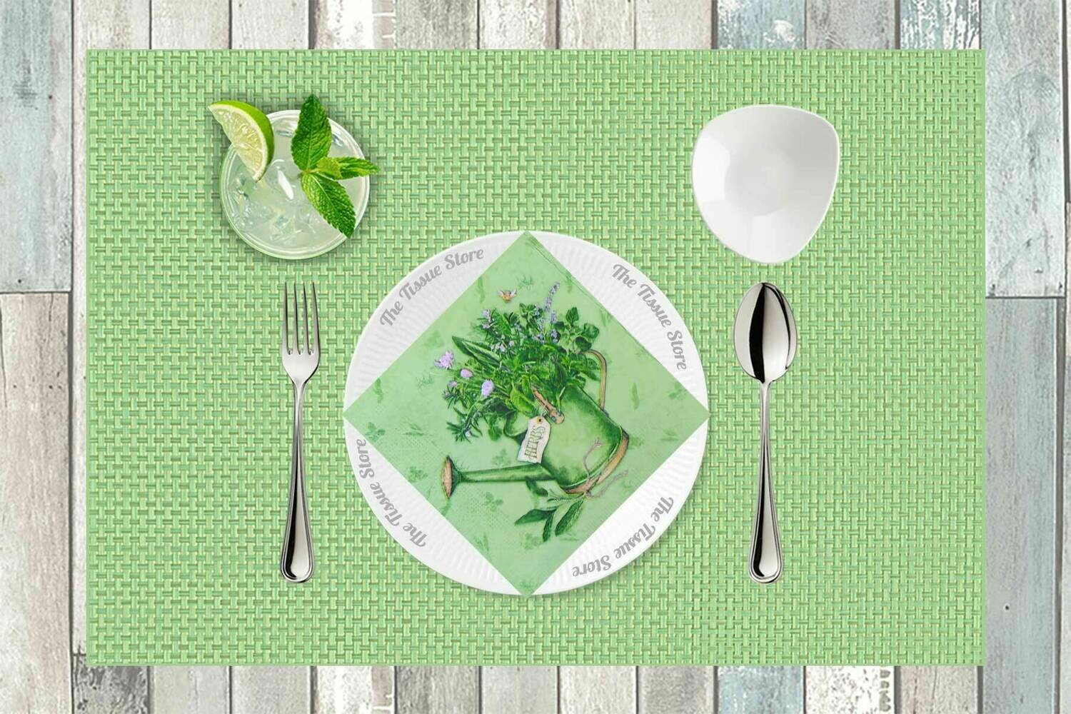 Flowering Can Green Paper Napkin - (Pack of 20)
