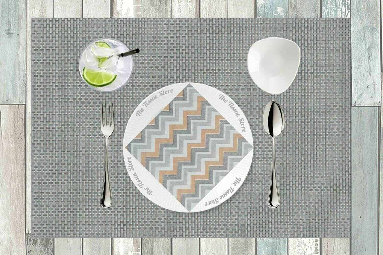 Chevron Peach & Grey Paper Napkin 16x16 - (Pack of 20)