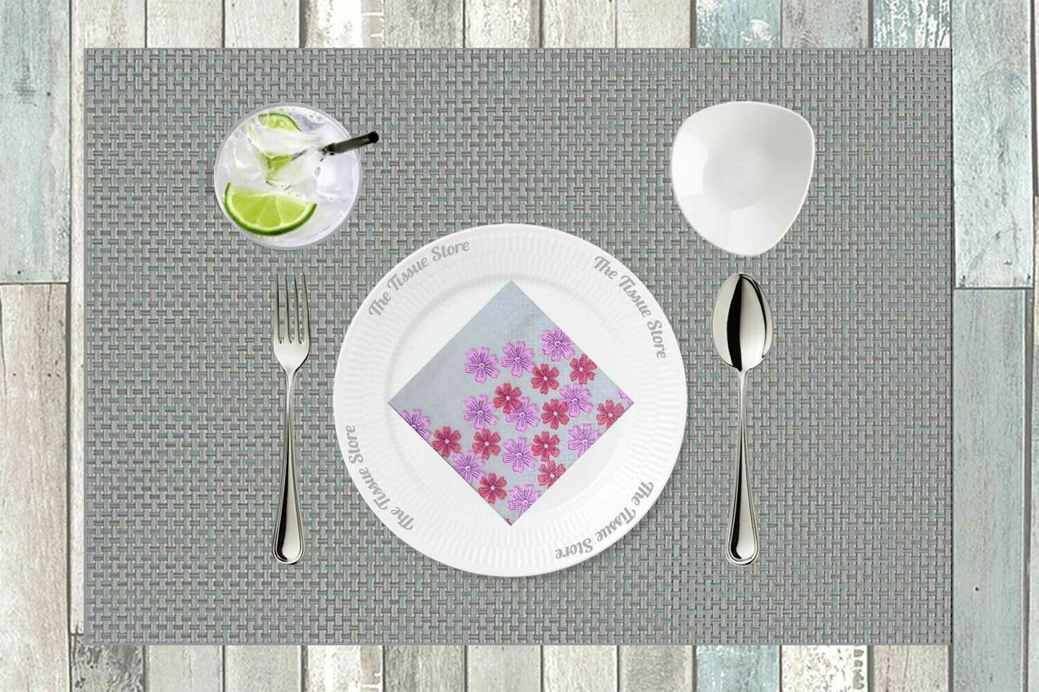 Breakfast / Cocktail Paper Napkin - Grey with Red & Pink Flowers 9x9- (Pack of 20)