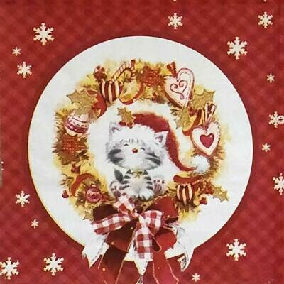 Christmas Print Paper Napkin Red & Gold 13x13 - (Pack of 20)