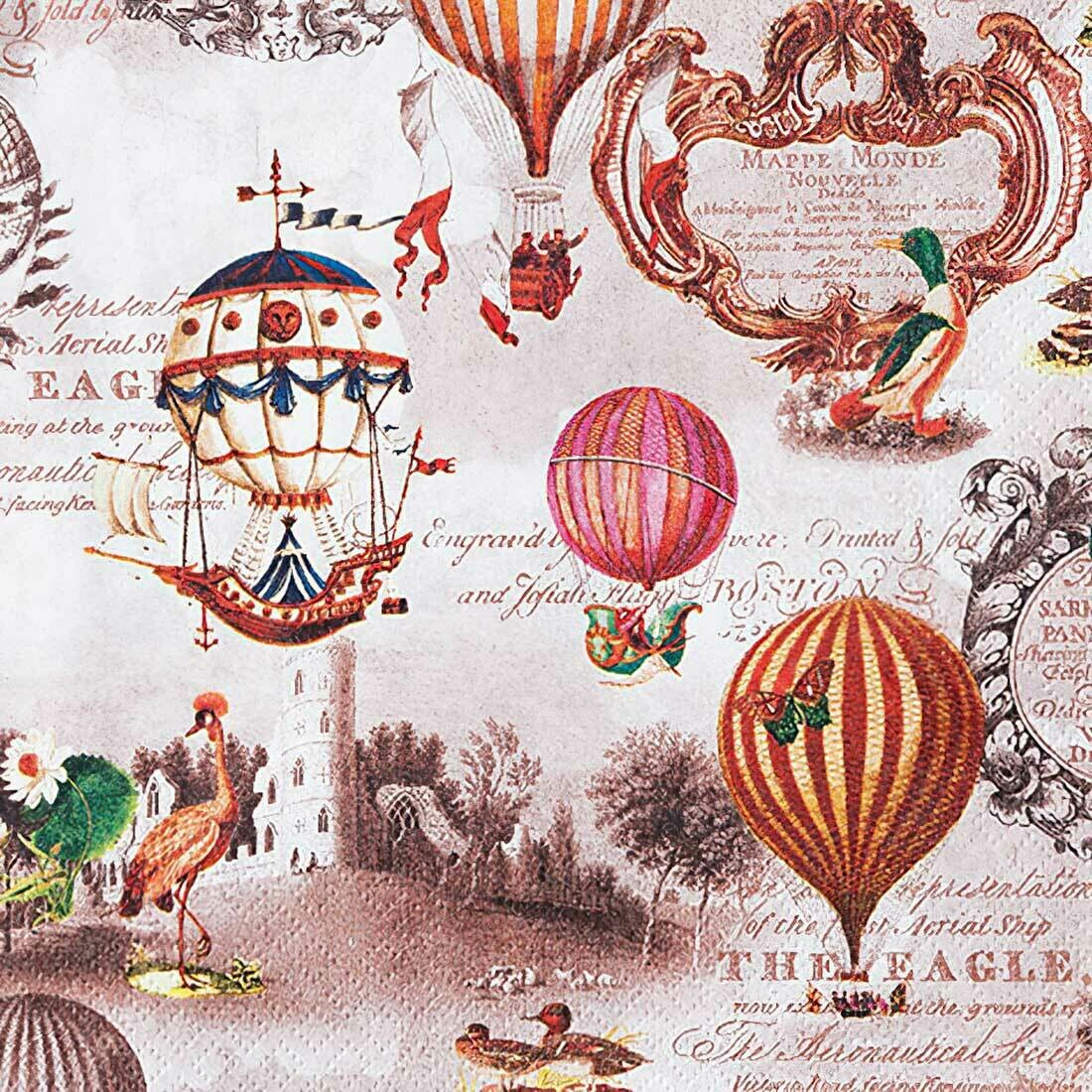 Decoupage Paper Napkins - Vintage Ballons - 13x13 (1 Sheet)