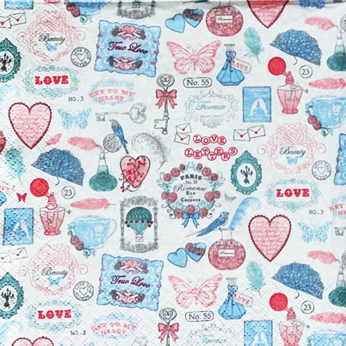 Decoupage Paper Napkins - Love Icons- 13x13 (1 Sheet)