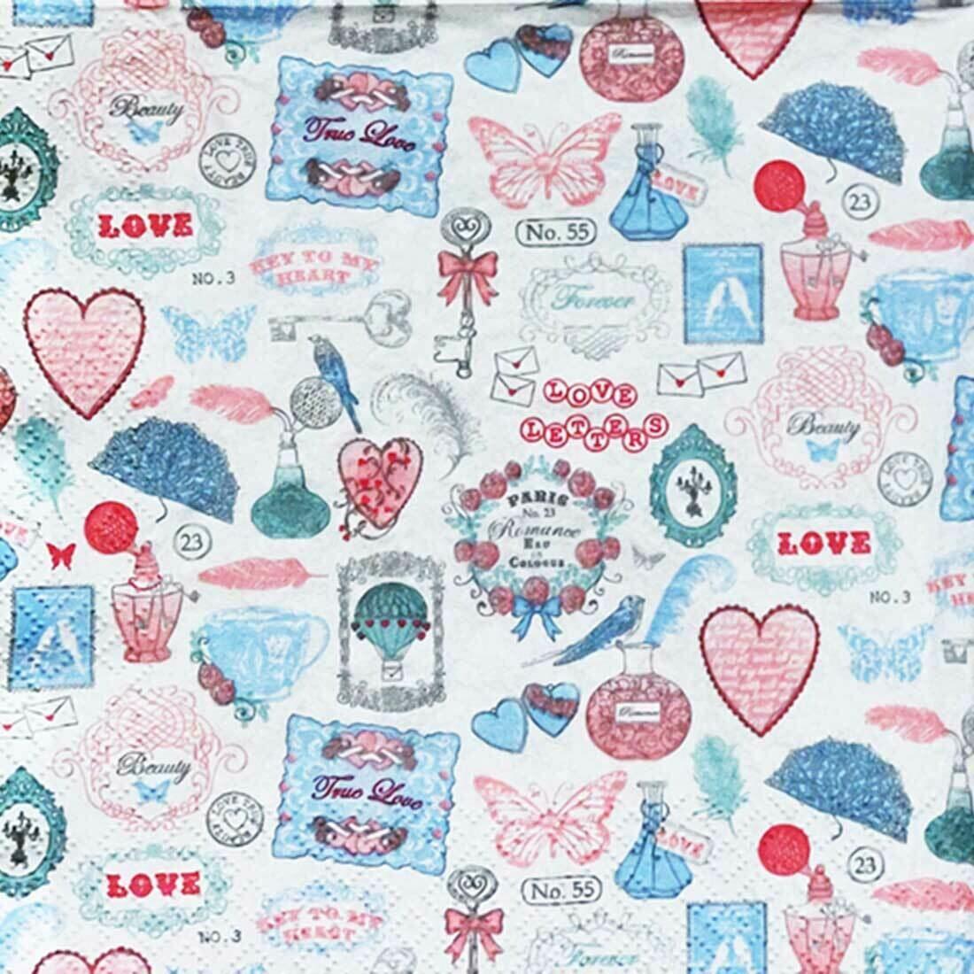 Decoupage Paper Napkins - Love Icons- 13x13 (1 Sheet)