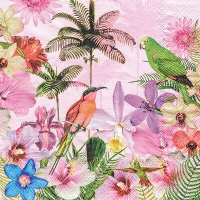 Decoupage Paper Napkins - Tropical Bird- 13x13 (1 Sheet)