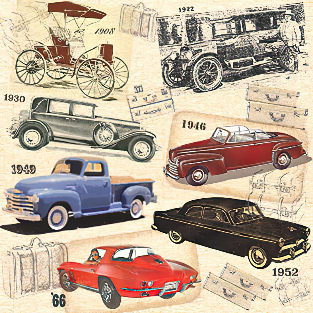 Decoupage Paper Napkins - Vintage Cars - 13x13 (1 Sheet)