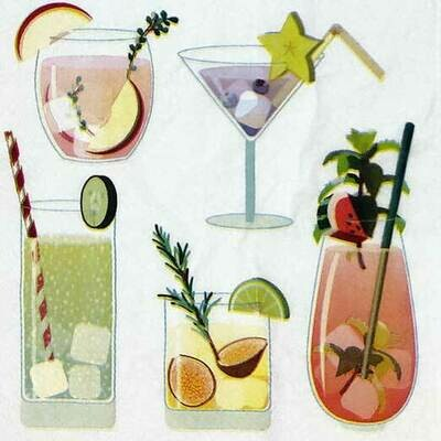 Decoupage Paper Napkins - Drinks - 13x13 - (1 Sheet)