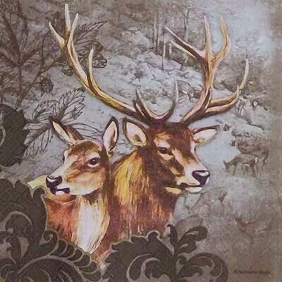 Decoupage Paper Napkins - Animals - Deer's - 13x13 - (1 Sheet)