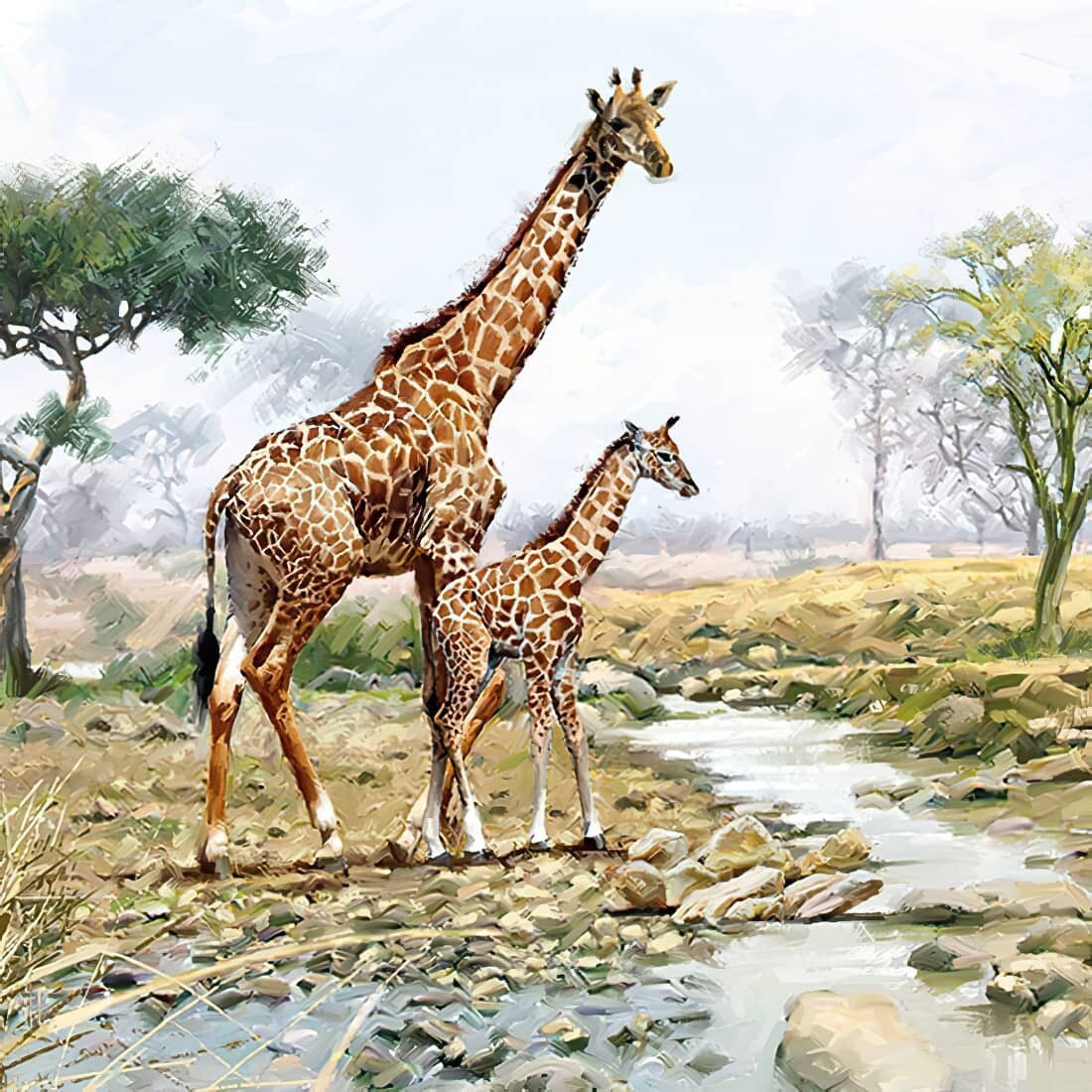 Decoupage Paper Napkins - Giraffes - 13x13 - (1 Sheet)