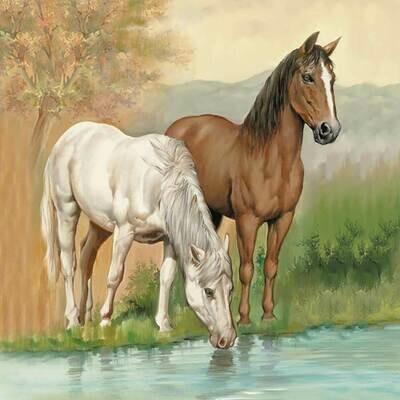 Decoupage Paper Napkins - Animals - Horses - 13x13 - (1 Sheet)