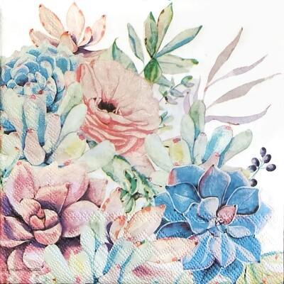 Decoupage Paper Napkins - Succulent Flowers (1 Sheet)