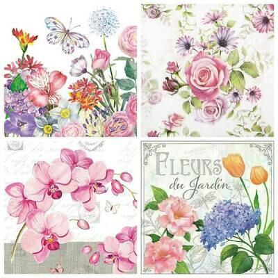 Decoupage Paper Napkins - Floral 11 13x13 (4 Sheets)