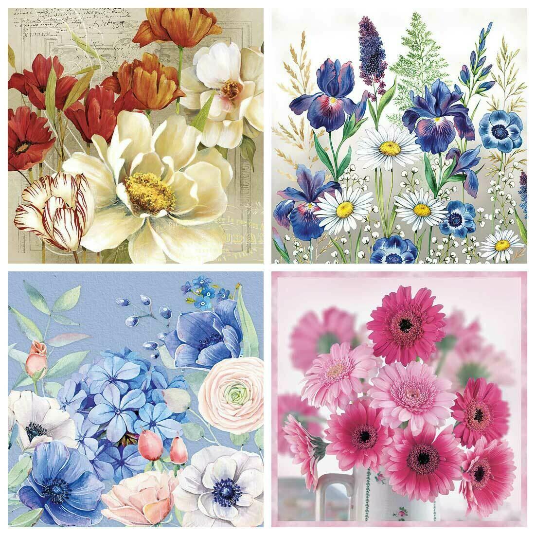 Decoupage Paper Napkins - Floral 12 13x13 (4 Sheets)