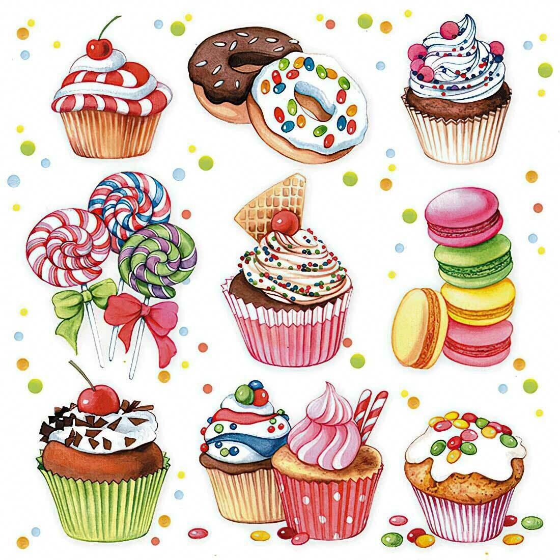 Decoupage Paper Napkins - Desserts 13x13 (1 Sheet)