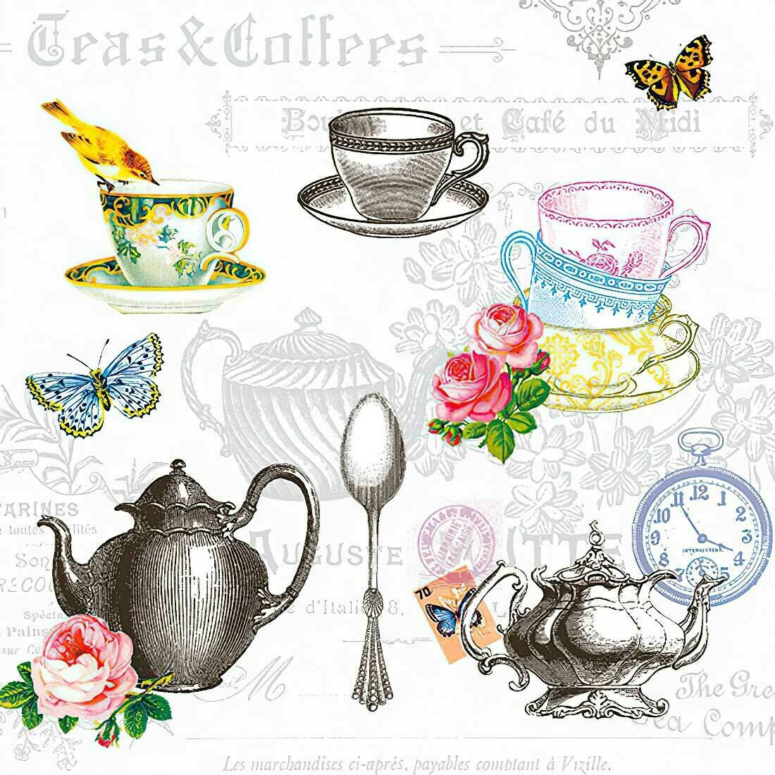 Decoupage Paper Napkins - Tea Mix White 13x13 (1 Sheet)