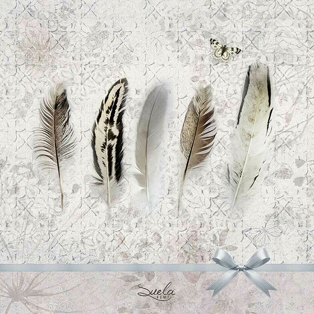 Decoupage Paper Napkins - Feathers - 13x13 - (1 Sheet)
