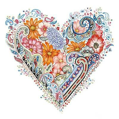 Decoupage Paper Napkins - Spring Heart - 13x13 (1 Sheet)