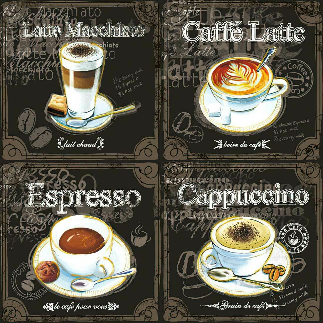 Decoupage Paper Napkins - Types of Coffee 13x13 (1 Sheet)