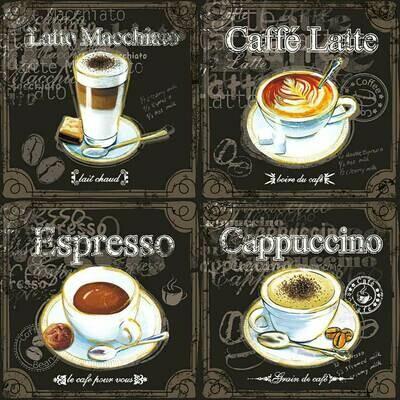 Decoupage Paper Napkins - Types of Coffee 13x13 (1 Sheet)