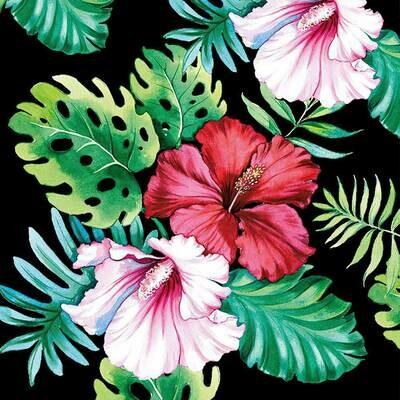 Decoupage Paper Napkins - Floral Hibiscus Black 13x13 (1 Sheet)
