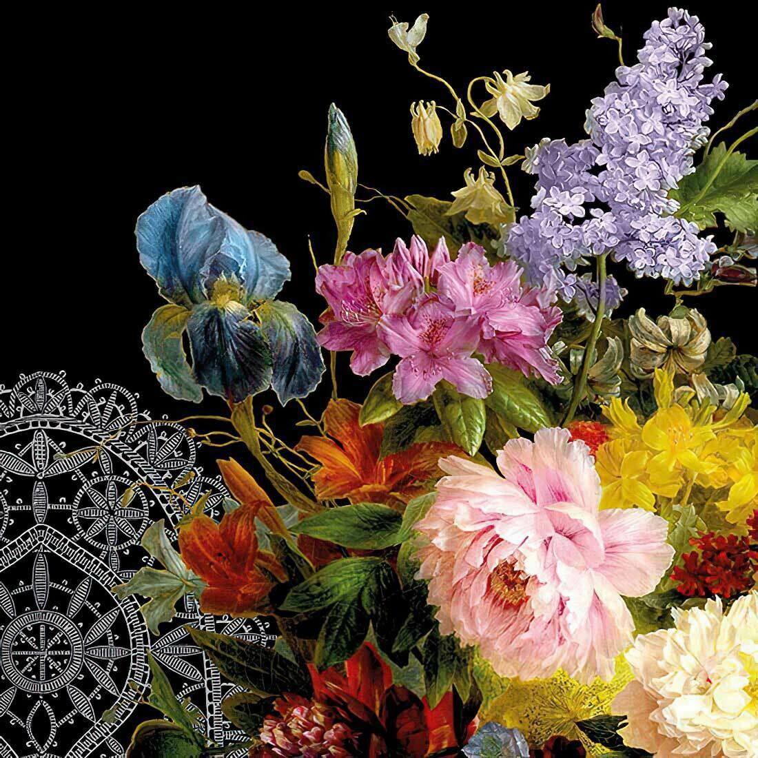 Decoupage Paper Napkins - Floral Boquet Black 13x13 (1 Sheet)