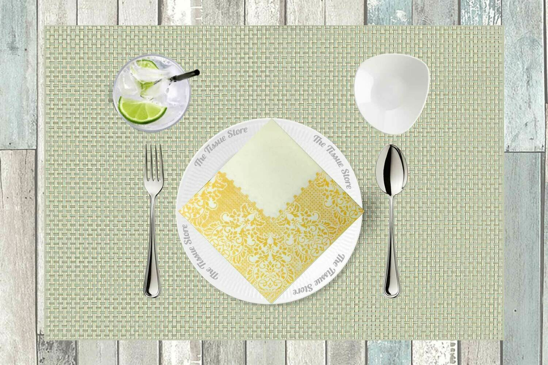 Cream & Gold/Yellow Selfprint Paper Napkin 16x16 - (Pack of 20)
