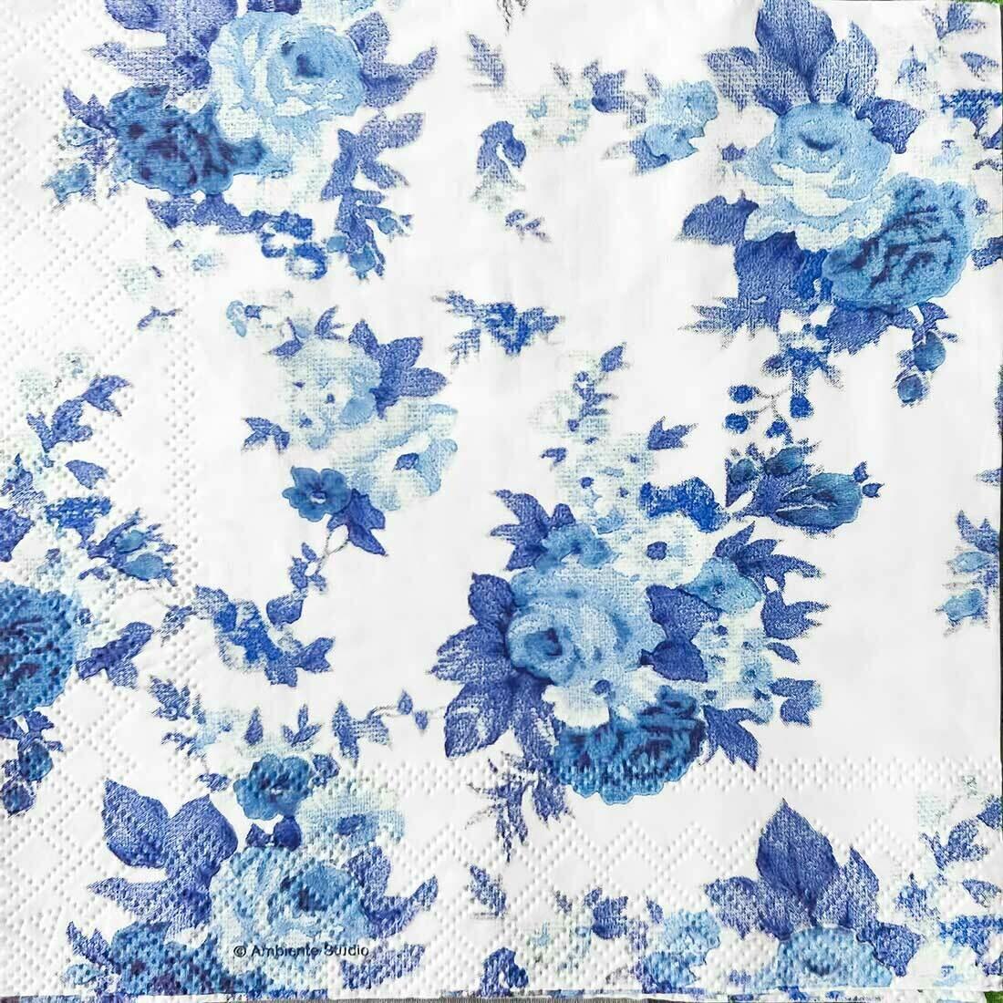 Decoupage Paper Napkins - Floral Blue Antoinette 13x13 (1 Sheet)