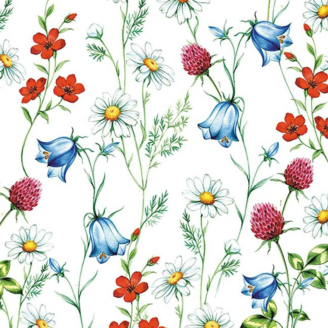 Decoupage Paper Napkins - Floral - Mixed Wild Flowers 13x13 (1 Sheet)