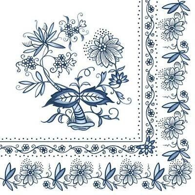 Decoupage Paper Napkins - Floral Dark Blue (1 Sheet)
