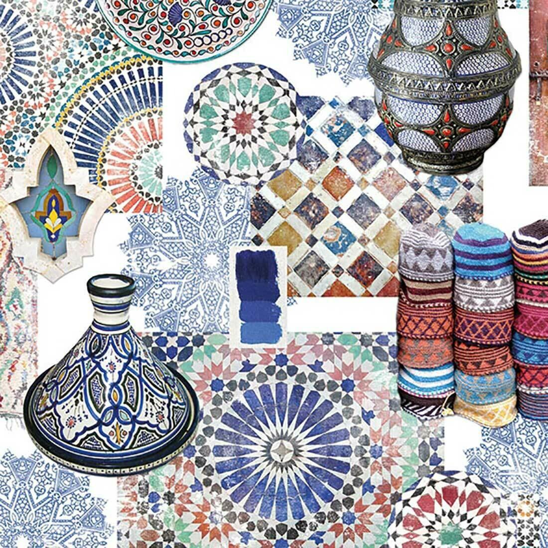 Decoupage Paper Napkins - Medina Blue (1 Sheet)