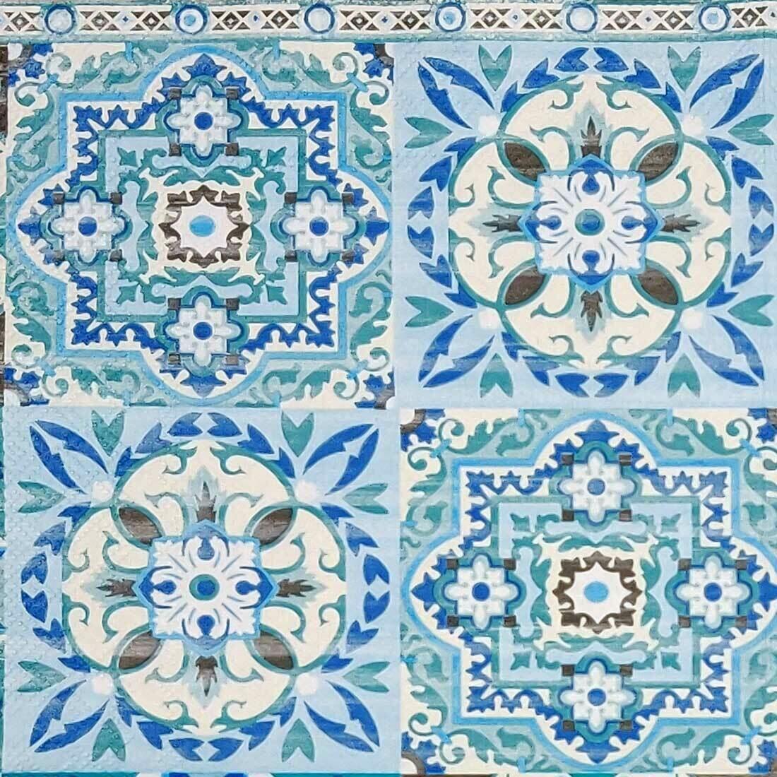 Decoupage Paper Napkins - Blue Tiles(1 Sheet)