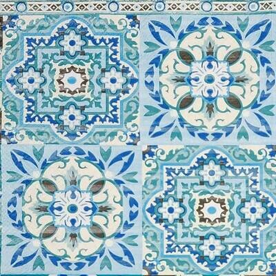 Decoupage Paper Napkins - Blue Tiles(1 Sheet)