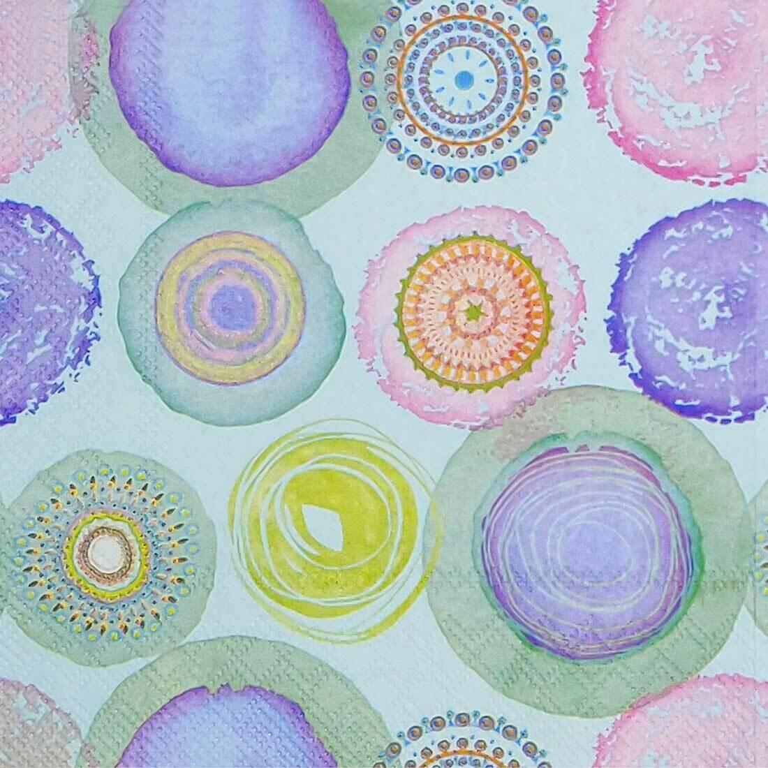 Decoupage Paper Napkins - Watercolor Circles - Blue (1 Sheet)