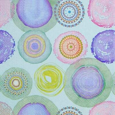 Decoupage Paper Napkins - Watercolor Circles - Blue (1 Sheet)