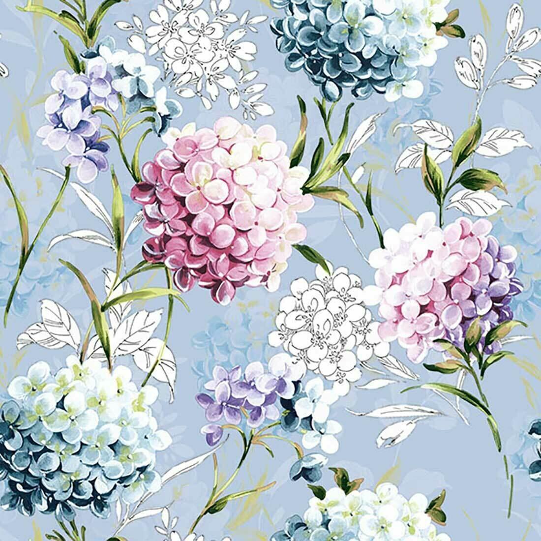 Decoupage Paper Napkins - Floral Horana Sky Blue (1 Sheet)