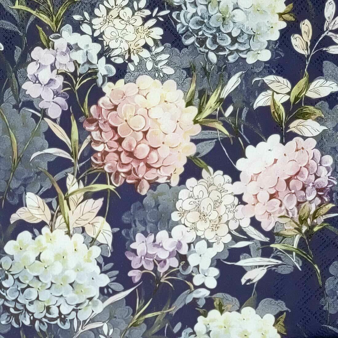 Decoupage Paper Napkins - Floral Horana Dark Blue (1 Sheet)
