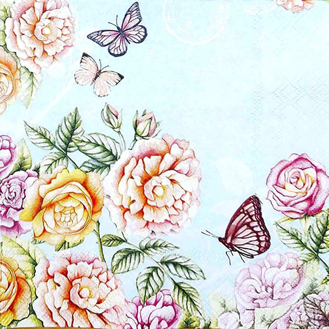 Decoupage Paper Napkins - Floral Botanical Garden Sky Blue (1 Sheet)