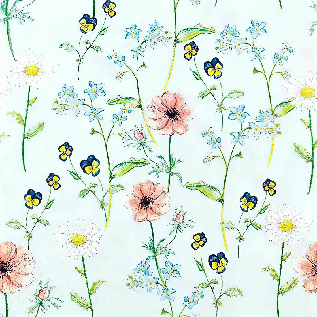 Decoupage Paper Napkins - Floral Little Garden Blue (1 Sheet)