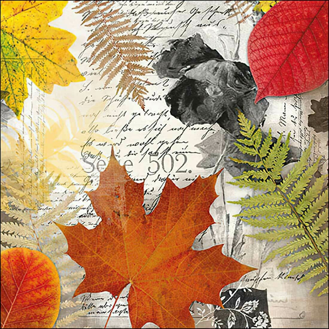 Decoupage Paper Napkins - Leaves on a Letter (1 Sheet)