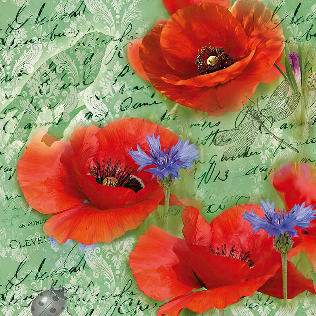 Decoupage Paper Napkins - Painted Poppies Green (1 Sheet)