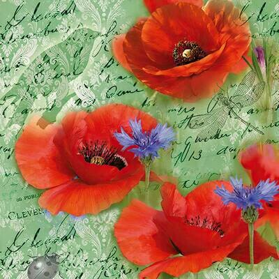 Decoupage Paper Napkins - Red Poppies (1 Sheet)