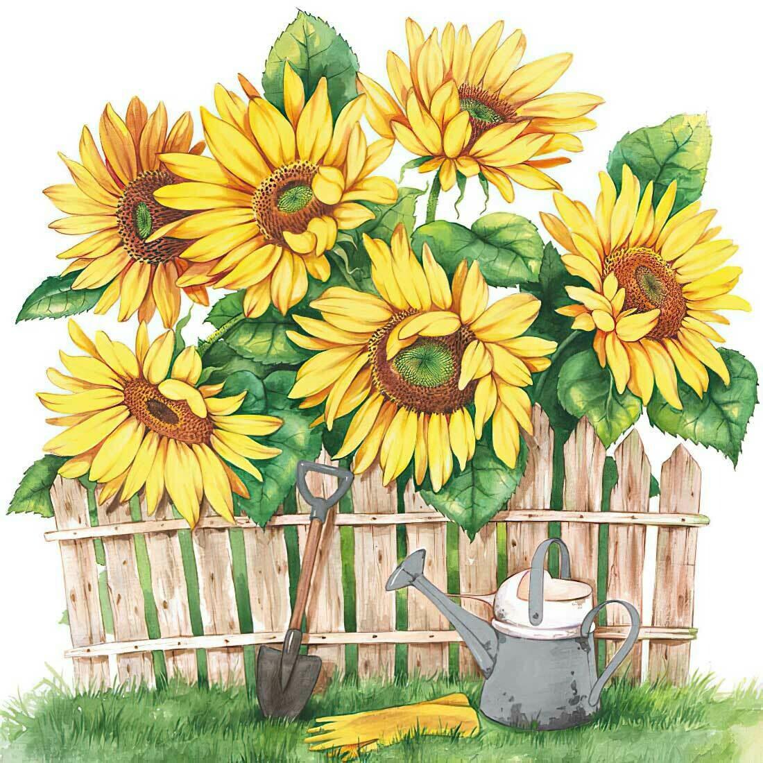 Decoupage Paper Napkins -Garden Of Sunflowers (1 Sheet)