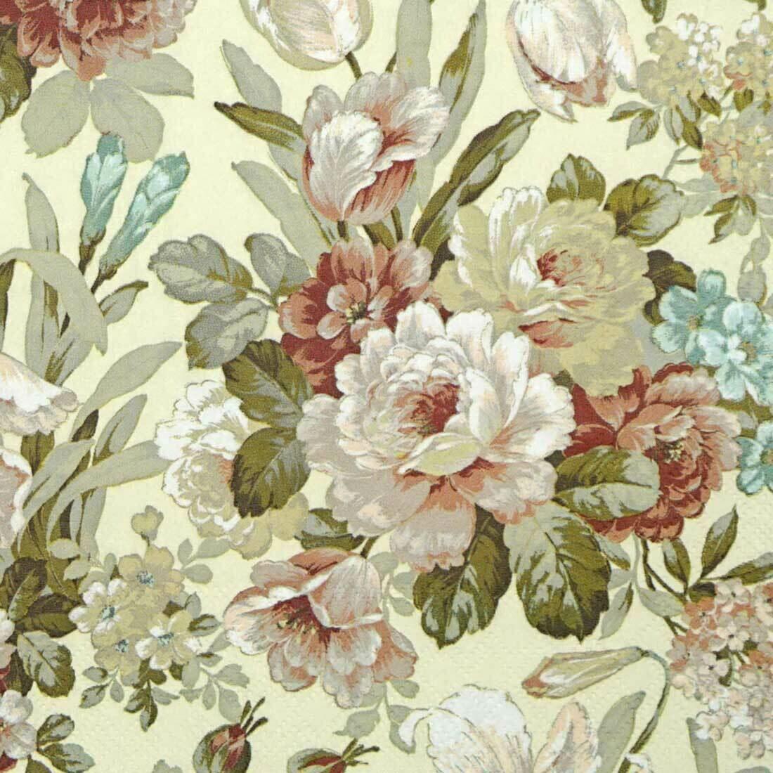 Decoupage Paper Napkins -Floral Cream (1 Sheet)