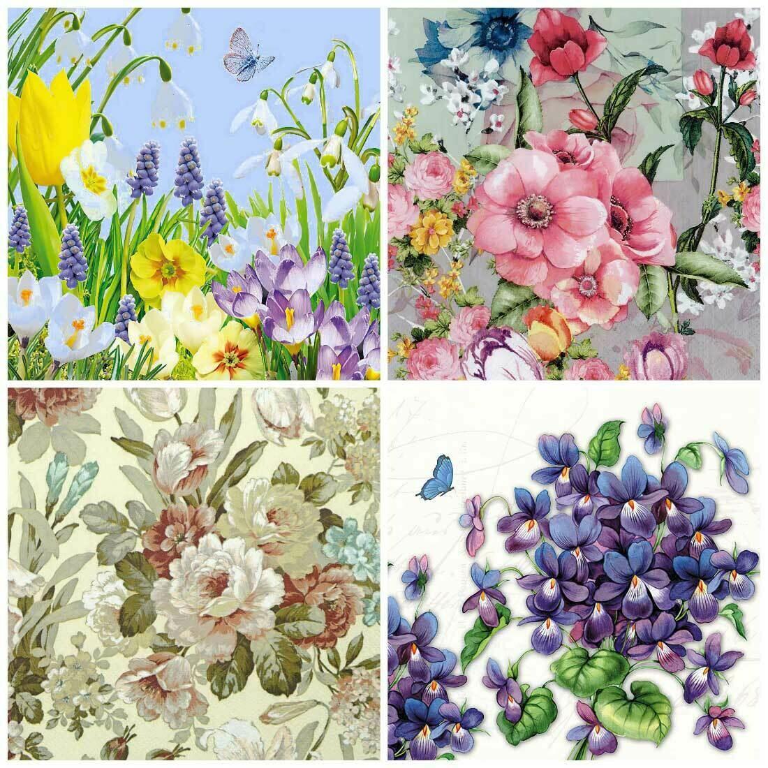 Decoupage Paper Napkins - Floral 16 13x13 (4 Sheets)