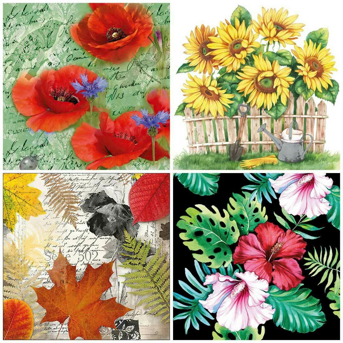 Decoupage Paper Napkins - Floral 15 13x13 (4 Sheets)