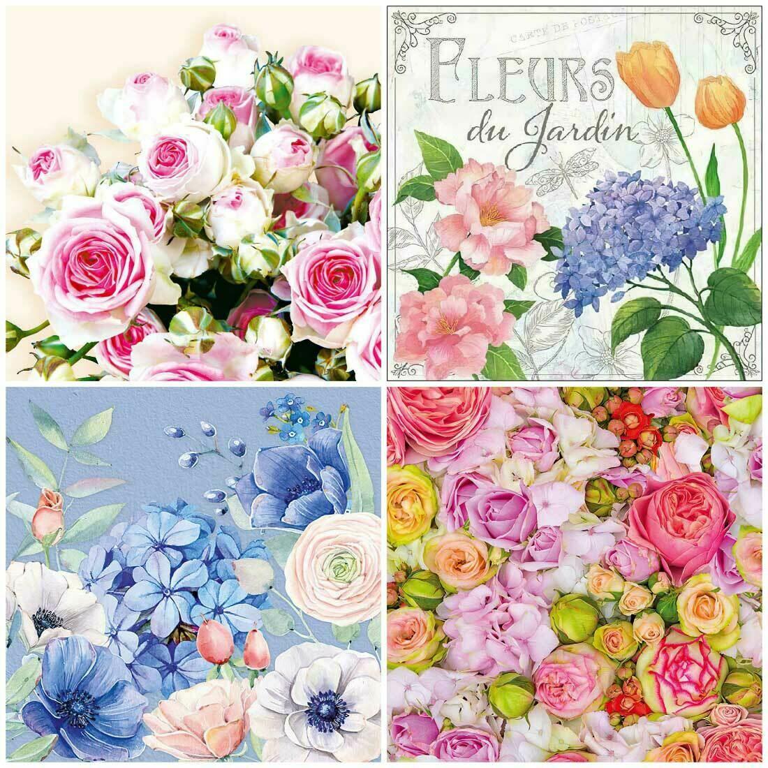 Decoupage Paper Napkins - Floral 17 13x13 (4 Sheets)