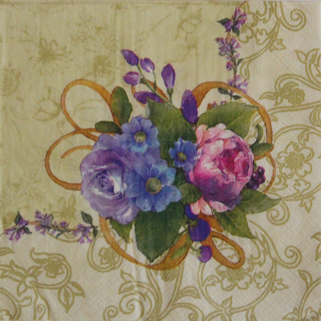 Floral Cream Paper Napkin 13x13 - (Pack of 20)
