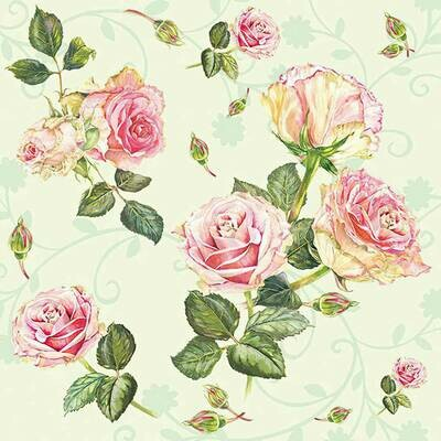 Decoupage Paper Napkins -Floral Rosie Rose Green (1 Sheet)