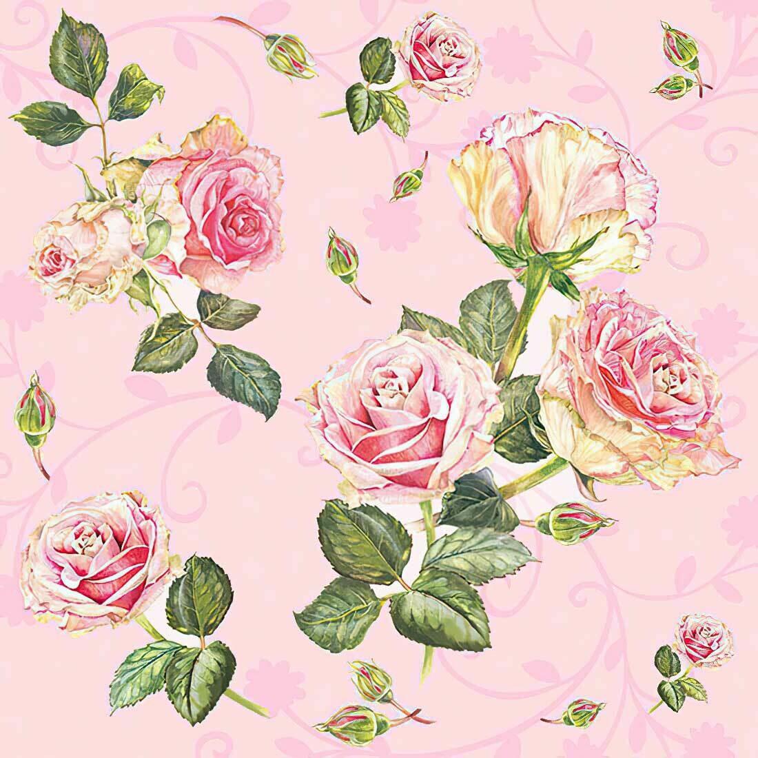 Decoupage Paper Napkins -Floral Rosie Rose - Baby Pink (1 Sheet)