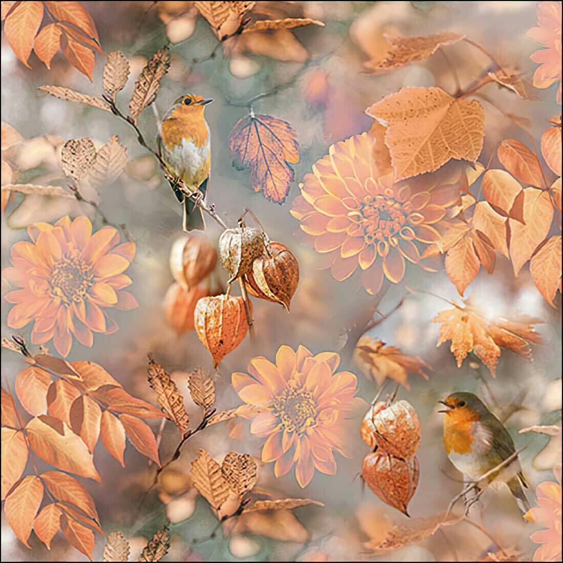 Decoupage Paper Napkins - Bird Orange Autumn (1 Sheet)