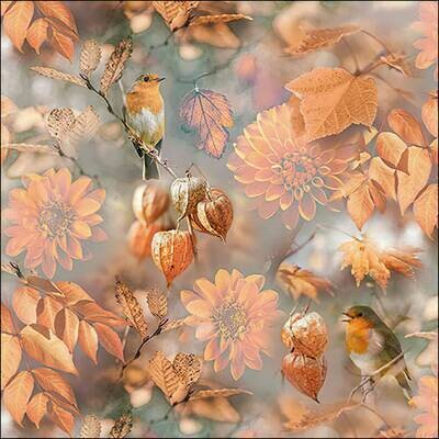 Decoupage Paper Napkins - Bird Orange Autumn (1 Sheet)